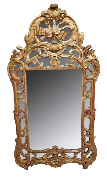 Petit miroir à parecloses en bois stuqué,...