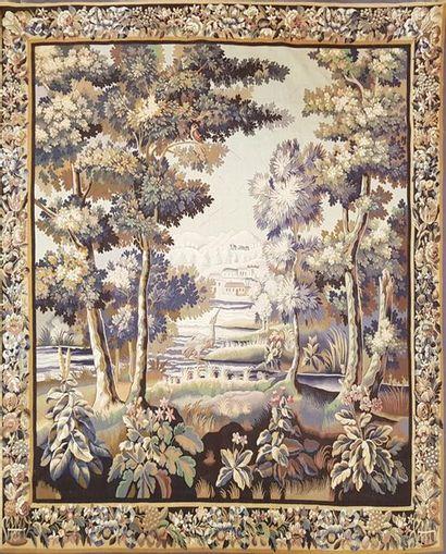 Aubusson fin XIXe siècle Paysage au héron....