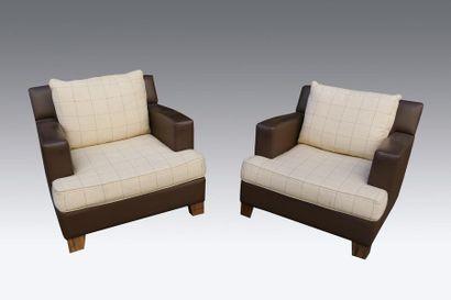 Philippe HUREL (XXIe siècle) Paire de fauteuils...