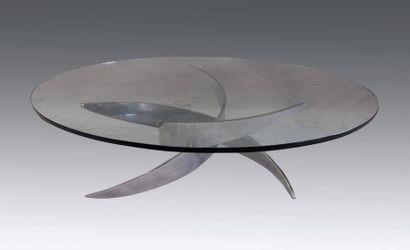 Table basse à plateau de verre ovale sur...