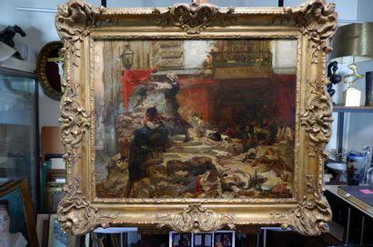 Georges CLAIRIN (1843-1919) Sur les barricades. Huile sur toile (accidents) signée...