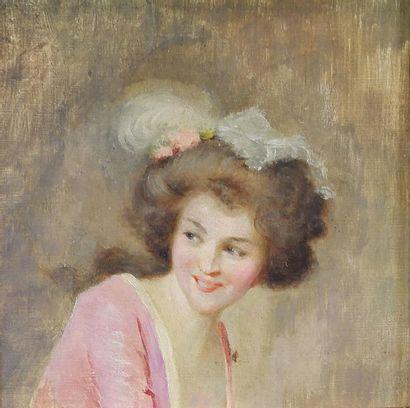 Ecole du XIXe siècle Portrait de femme de trois-quarts. Huile sur panneau. 14,5...