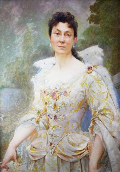 Ecole française du XIXe siècle Elégante à la robe blanche. Huile sur panneau. 65,5...