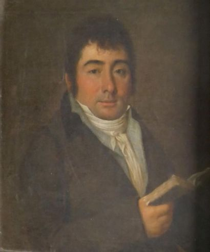 Ecole du XIXe siècle Portrait d'homme. Huile...
