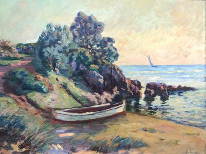 Armand GUILLAUMIN (1841-1927) Barques à Agay,...