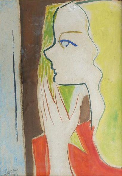 Louis LATAPIE (1891-1972) Profil de femme...