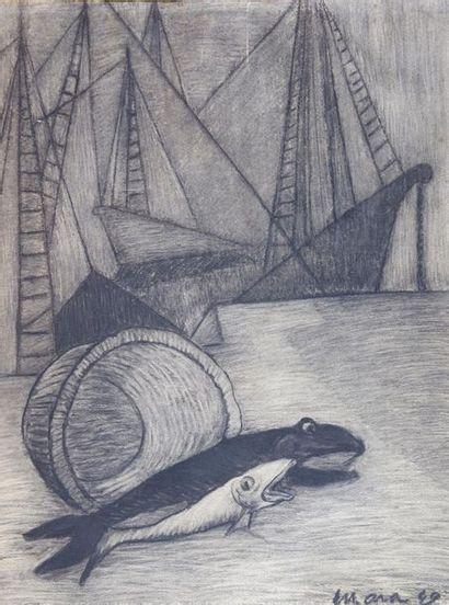 Ecole du XXe siècle Les poissons, 1949. Crayon...