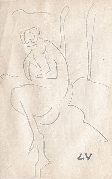 Louis VALTAT (1869-1952) Femme assise. Dessin...