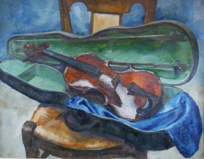 Clément SERVEAU (1886-1972) Violon sur une...