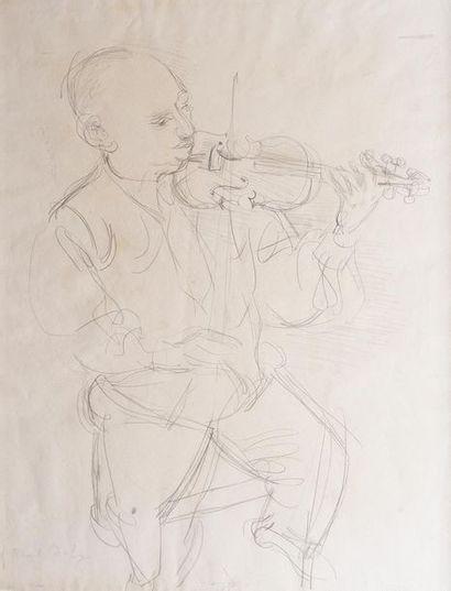 Raoul DUFY (1877-1953) Le violoniste. Dessin...