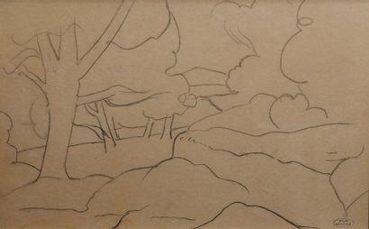 André DERAIN (1880-1954) Etude de paysage....
