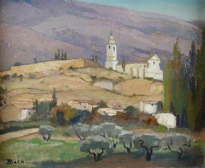 BACH (XXe siècle) Vue de Provence. Huile...
