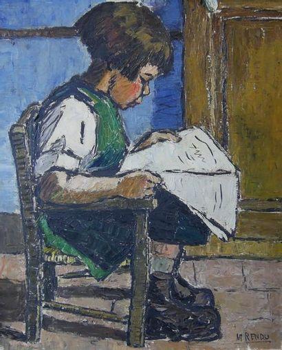 Marcel RENDU (XXe siècle) Petite fille assise...