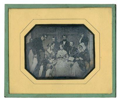 Alphonse de BREBISSON (Falaise 1798-1872) Groupe de huit personnes de la bonne société...
