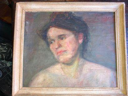 """Ecole moderne  """"Portrait de femme""""  Huile sur toile, datée en haut à droite 6 janvier..."""