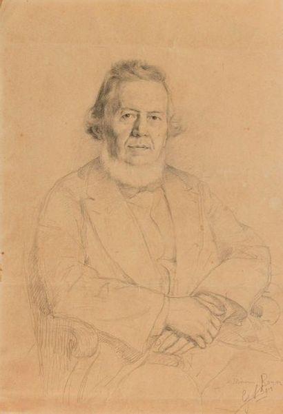 Ecole du XIXe siècle  Portrait de M.Boyer assis les mains croisées  Crayon sur papier...