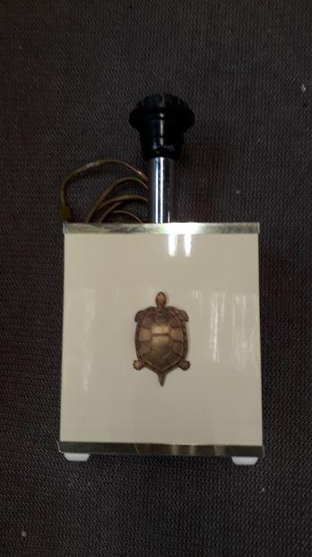 Pied de lampe parallelepipédique laqué beige...