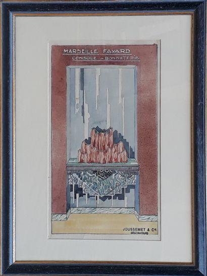 """JOUSSEMET ET Cie, décorateur  """"Etude de bureau face à face - année 50's"""", """"Marseille..."""