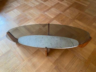 Table basse en bois de placage à deux plateaux...