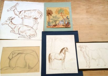 Louis DUMONCHEL (1891-1978) - Peintre et sculpteur Lot de cinq dessins, signés ou...