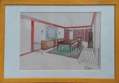 """PUSPAN (Xxe siècle)  """"Etude d'enfilade"""" et """"Projet de salle à manger""""  Crayon, encre..."""