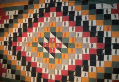 Tenture, Burkina, patchwork de bandes de...