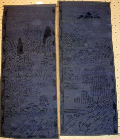 Deux laizes de velours violet, Chine, dynastie...