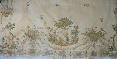 Bas de robe, XVIIIème siècle, faille crème,...