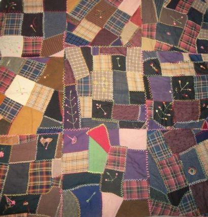Couverture en patchwork, circa 1930, assemblage...
