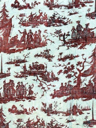 Courtepointe en coton imprimé à la planche en rouge, Nantes pour La Fosse Lionet...