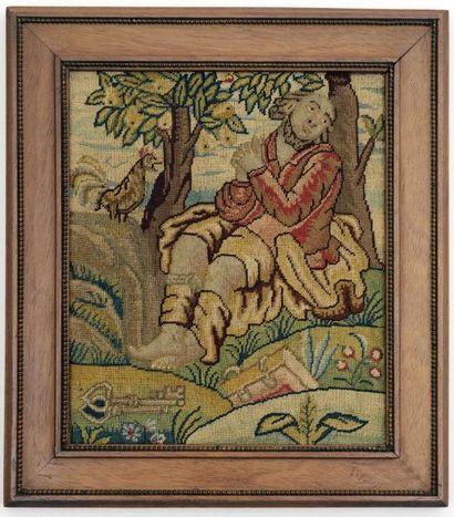 Tapisserie au point, laine et soie, XVIIème...