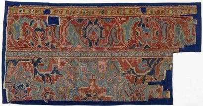 Fragment de Tapis Ouchak, fin XVIIème début XVIIIème siècle, fond bleu vert décor...