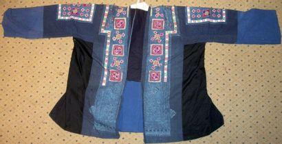 Veste Miao, Chine, Guizhou, toile bleue indigo,...