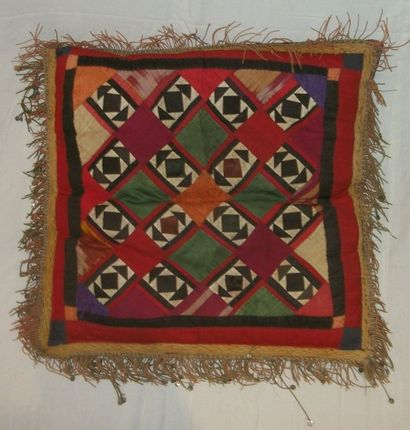 Coussin en patchwork, Asie Centrale, composé...