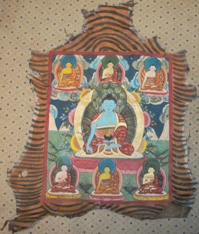 Tankas, Tibet, peau de chèvre peinte du Boudha...
