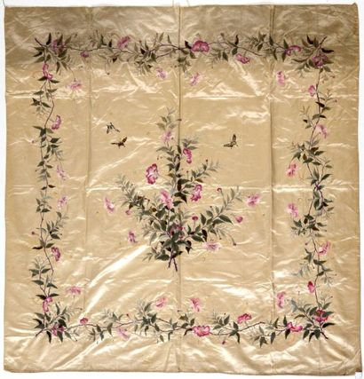 Panneau, Chine du Sud, circa 1900, satin...
