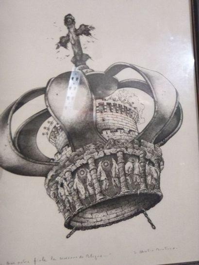 """Jean MARTIN-BONTOUX (1927-2002), ensemble de gravures (4), """"… Sur notre fiole, la..."""