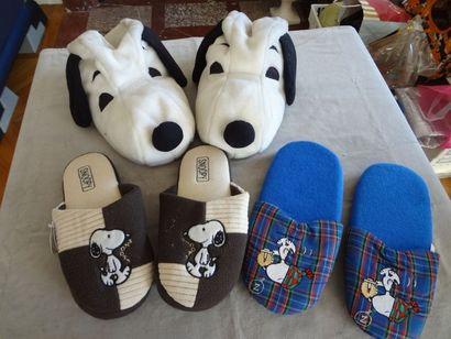 SNOOPY - lot de 3 paires de chaussons
