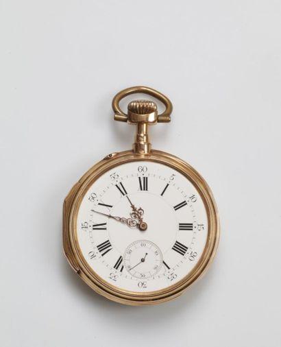 MONTRE DE POCHE en or rose et or jaune (750...