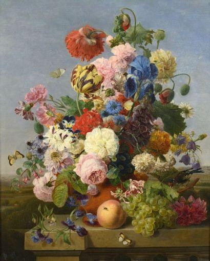 """Atelier de DAEL Jan Frans van (1761 – 1840)  """"Vase de fleurs, et pêche sur un entablement..."""