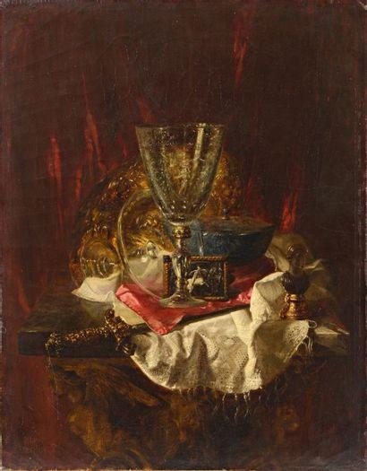 """Blaise Alexandre DESGOFFE (1830-1901)  """"Nature Morte à l'assiette""""  Huile sur toile,..."""