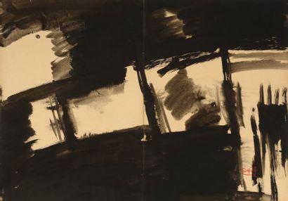 """TANG Haiwen (1927-1991)  """"Composition""""  Encre de chine noire, lavis, signée en bas..."""