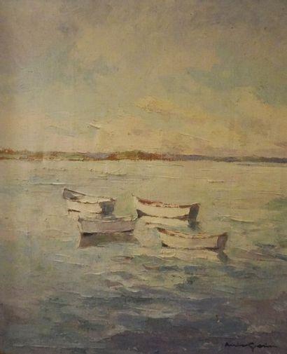 """Louis GARIN (1888-1959) """"Village au soleil"""" Huile sur carton, signée et datée 2..."""