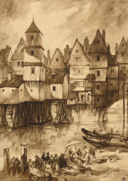 """Charles HUARD (1874-1965) - Lot de neuf dessins:  - """"Eglise"""" - lavis d'encre sanguine,..."""