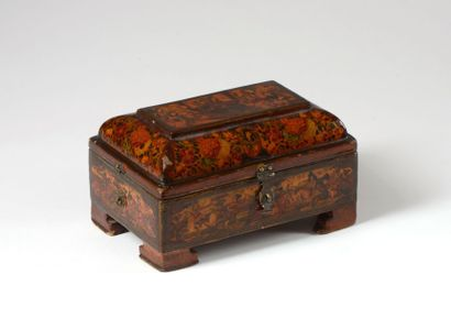 coffret en bois peint et laqué, Iran XIXe...