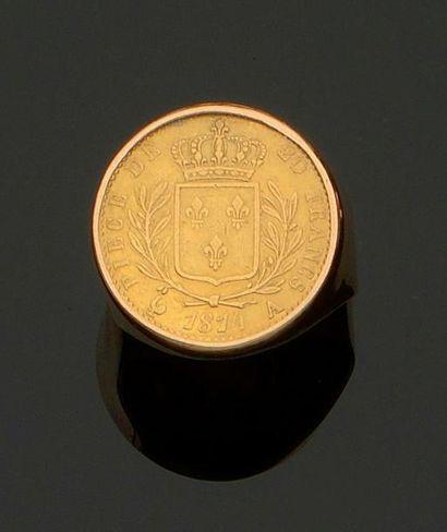 Bague en or jaune 750 millièmes, ornée d'une...