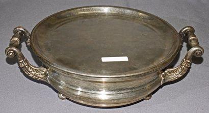 CHAUFFE-PLAT à deux anses en métal argenté...
