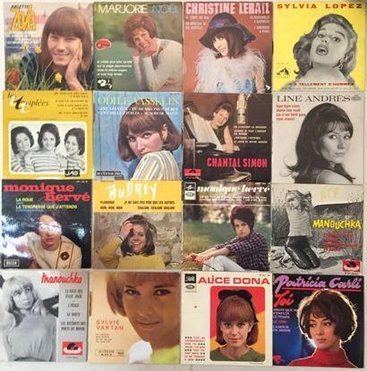 CHANSON FRANCAISE Lot de 98 disques 45 T EP de chanteuses Françaises VG+ à NM / VG+...