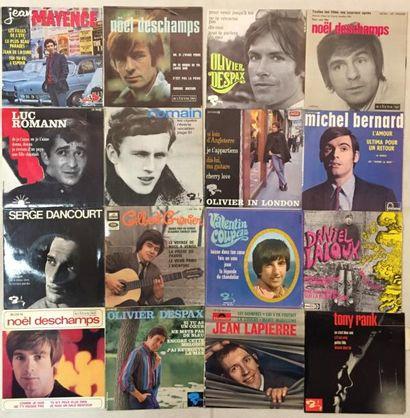 CHANSON FRANCAISE Lot de 80 disques 45 T EP de chanteurs Français. VG+ à NM / VG+...