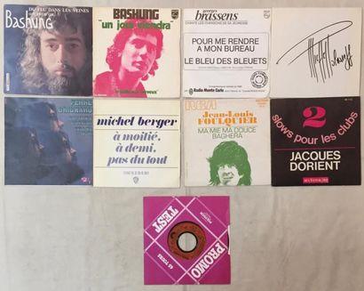CHANSON FRANCAISE Lot de 73 disques 45 T de chanteurs Français. VG+ à EX/ VG+ à NM...